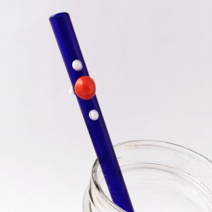 Blue Burst Glass Straw
