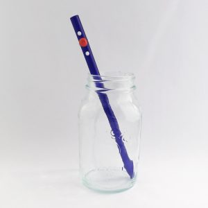 Blue Burst Barely Bent Long Smoothie Glass Straw