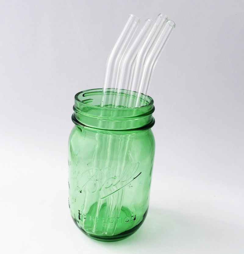 Clear Barely Bent Glass Straw Set Of 4 Strawesome