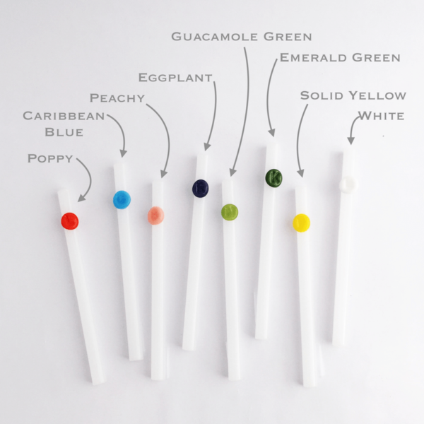 Stark White Personalized Glass Straws