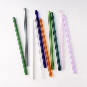 Colored Glass Straw Set