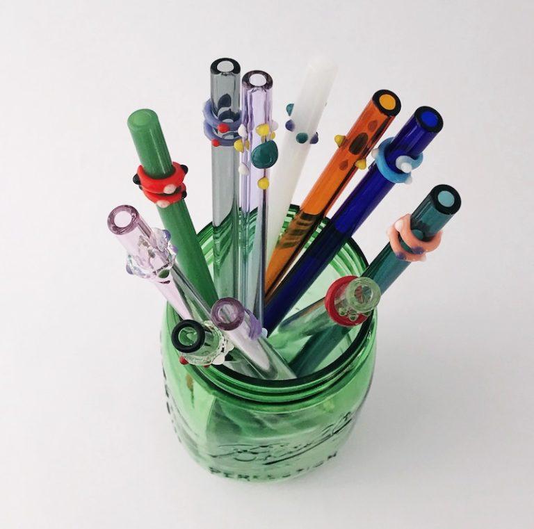 Designer Glass Straws in Mason Jar