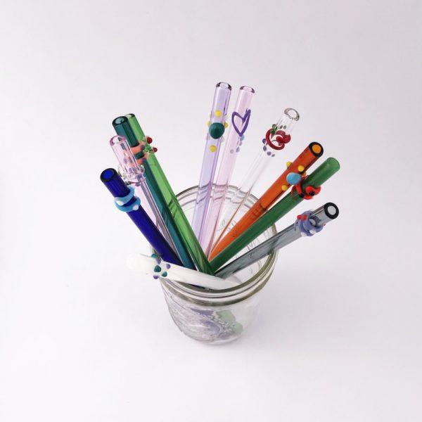Designer Glass Drinking Straw Set