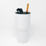 30oz RTIC White Insulated Tumbler with Glass Straw