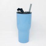 30oz RTIC Carolina Blue Insulated Tumbler with Glass Straw